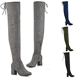 essex glam womens thigh high boots ladies over the knee lace up long low mid heel shoes 3-8 - 41iGRaUtNyL - ESSEX GLAM Womens Thigh High Boots Ladies Over The Knee Lace Up Long Low Mid Heel Shoes 3-8