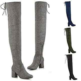 aa724414642b ESSEX GLAM Womens Thigh High Boots Ladies Over The Knee Lace Up Long Low  Mid Heel