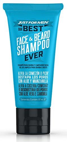 Temporada Movember* JUST FOR MEN Champú para Barba y Limpiador Facial – Champú diario para el cuidado, contra irritaciones y suavizar la Barba - 97 ml