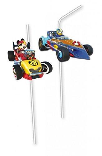 Procos 6 Trinkhalme * Mickey Roadster * mit Trinkknick für Kinderparty und Kindergeburtstag // Straws Strohhalme Party Set Kinder Geburtstag Micky Maus Mouse Rennauto Rennen Fahren Donald Duck