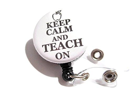 atlanyards Keep Calm and Teach On Retractable Badge Reel, Swivel Clip Badge Holder weiß