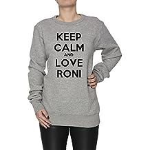 Keep Calm And Love Roni Damen Jumper Sweatshirt Pullover Grau Baumwolle Women's Sweatshirt Pullover Jumper Grey