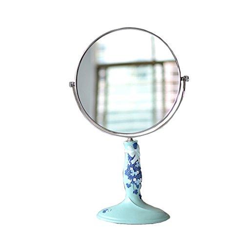 JILAN HOME Mirror- Schönheit Vanity Spiegel Make-Up Desktop Dressing Spiegel Doppelseitige rotierenden runden Harz High-Definition tragbare Spiegel zu Fuß Stand mirror ( Farbe : Fresh blue , größe : 7-inch )