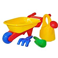 4PC KIDS GARDEN WHEELBARROW PLAY SET WATERING CAN CHILDRENS TOOLS SANDPIT BEACH by Kingfisher