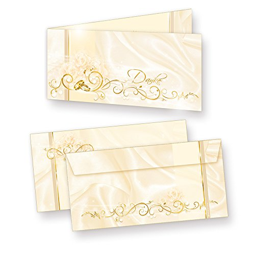 Danksagung Hochzeit PERLMUTT (40 Sets) sehr elegante Danksagungskarten für Hochzeit, inkl. Dreieckstaschen für Ihr Hochzeitsbild