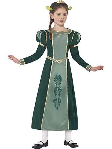 Kind Fiona Prinzessin Kostüm - Halloweenia - Mädchen Kinder Shrek Prinzessin Fiona Kostüm mit Kleid, Haarreif und Ohren, perfekt für Karneval, Fasching und Fastnacht, 104-116, Grün