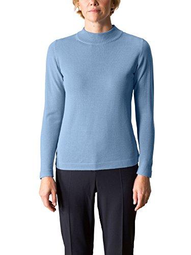 Walbusch Damen Merino-Pullover Stehbund einfarbig Blau Gr. 52/54 (Waschen Pullover Wolle Merino)