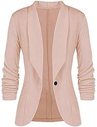 1b2ec41099b7 Dorical Blazer Damen Langarm Sakko Elegant Blazer Leicht Dünn Bolero Jacke  Coat Slim Fit EIN Knopf Tailliert Anzug…
