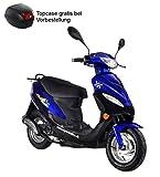 Roller GMX 450 SPORT Mokick 45 km/h blau 2,4 KW / 3,3 PS / Luftgekühlt / Alufelgen / Gepäckträger / Scheibenbremse / Teleskopgabel Hydraulisch / ab 16 Jahren