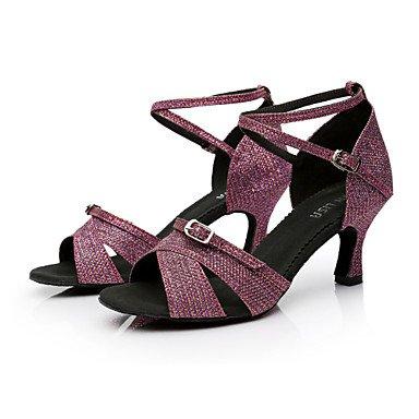 Scarpe da ballo-Personalizzabile-Da donna-Balli latino-americani / Salsa-Tacco su misura-Raso-Nero / Marrone / Viola / Altro Purple