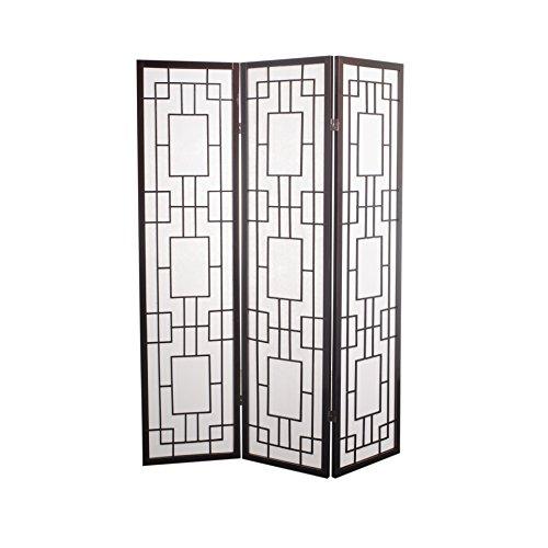 Fine asianliving divisor de espacios–Biombo plegable Protector de japonés Shoji pantalla de papel de arroz 3Panel Origami muebles decoración del hogar pantallas negro japonés estilo chino de Asia Oriental (papel de arroz)