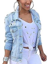 Naliha Chaqueta Vaquera De Mujer Rasgada Botón Abajo Traje Corto Talla Grande Abrigos De Jean