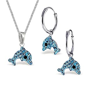 Kristall Delfin Set Anhänger + Kette + Creolen 925 Echt Silber Kinder Mädchen Delphin Ohrringe (2) Aquablau)