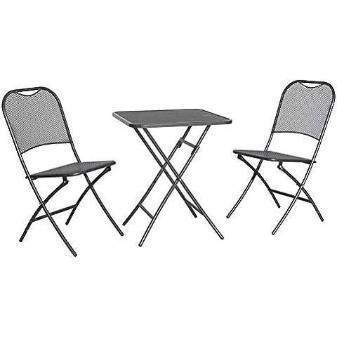 Siena Mybalconia 679994da balcone Set Cappuccino 2x sedie pieghevoli, 1tavolo 60x 60cm Struttura in acciaio grigio ferro lamiera stirata grigio ferro