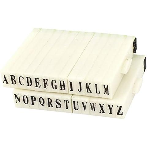 Sourcingmap 3 x 5 mm Goma Cabeza 26 Alfabeto Combinación Sello Bloque Juego - Negro