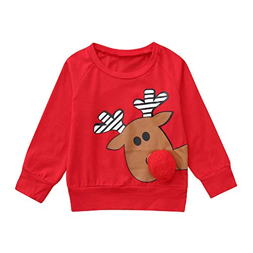 (VENMO Infant Baby Jungen Mädchen Wintermantel Cartoon Deer 3D Nase Weihnachten Weihnachten Tops Pullover Outfits Freizeit Oberteil Strickjacke Rollkragenpullover Strickpullover)