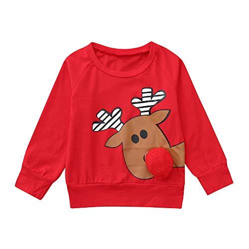 Beikoard Infant Baby Jungen Mädchen Cartoon Deer 3D Nase Weihnachten Weihnachten Tops Pullover Outfits 3D Stereo Hirsch Nase Pullover (Halloween Ideen Gute Für Zwillinge)