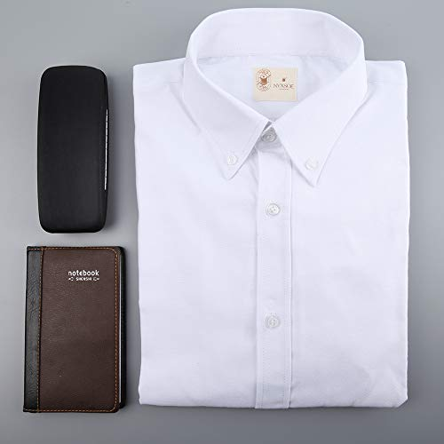 NYXSOE Herren Langarmshirt Oxford Standard-Fit - Weiß - Klein - Klassisches Oxford-hemd Knitterfrei