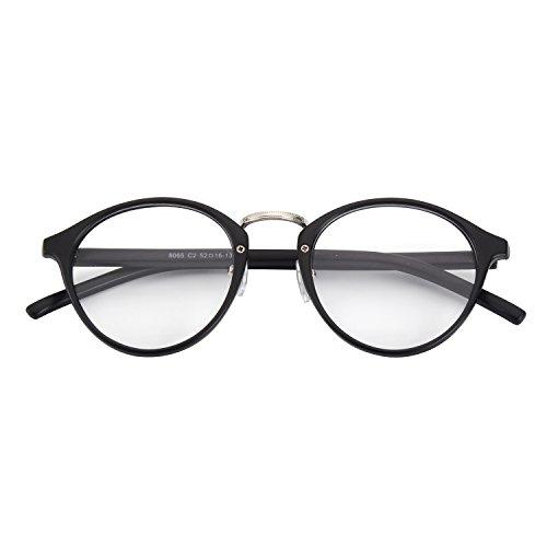 CGID Classic Nerdbrille Nostalgie Pantobrille Streberbrille Hornbrille clear lens Damen Herren,Matte...