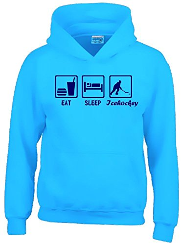 EAT SLEEP Icehockey Kinder Sweatshirt mit Kapuze HOODIE sky-navy, Gr.140cm