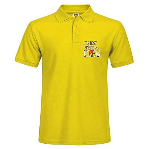 Teelife Collar Polo Shirt For Herren With My Best Friend Is Korean XXXX-L Yellow