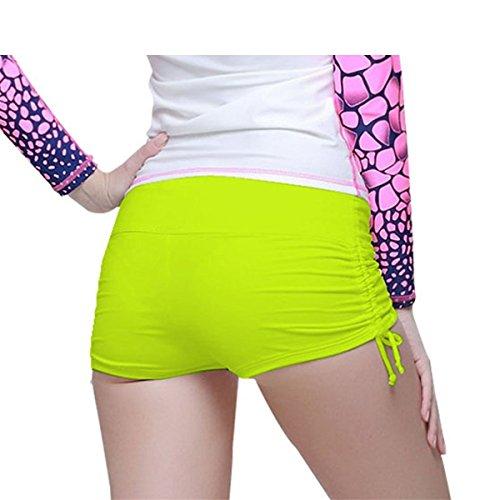 SANANG Damen Schwimmen Kurzer Surfing Beach Mini Shorts Bademode Bikini Bottom Fluoreszierendes Gelb