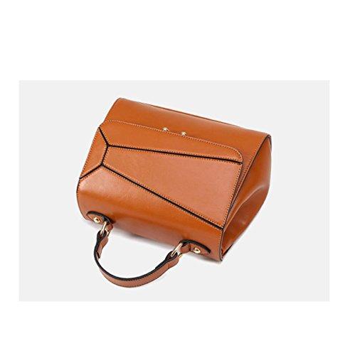 DHFUD Frauen PU-Schultertasche Handtasche Crossbody Stitching Fashion Brown