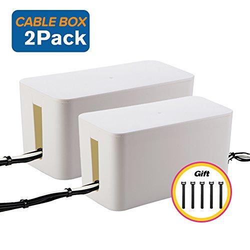 PINKSHE Kabel-Management Kabel-Abdeckung Drahtversteck-Box Concealer Organizer Schutzsystem für Heimkino, Entertainment, Büro, Schule, weiß, 2pic