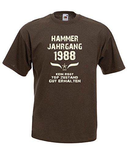 Sprüche Fun T-Shirt Jubiläums-Geschenk zum 29. Geburtstag Hammer Jahrgang 1988 Farbe: schwarz blau rot grün braun auch in Übergrößen 3XL, 4XL, 5XL braun-01