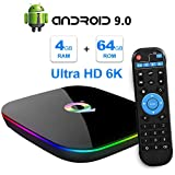 Q Plus Android 9.0 TV Box 4Go RAM 64Go ROM H6 Quad-Core cortex-A53 Support 3D 6K Ultra HD H.265 2.4GHz WiFi 10/100M Ethernet HDMI Smart TV Box