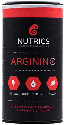 Nutrics Arginin + | 100{95fdbbb58e11d94249d4f1a6648f15d3b7a31dc4a8245a70fe4c7d0408691fa7} Vegan | 120 Kapseln | Aminosäuren hergestellt in Deutschland | Sportlerpackung