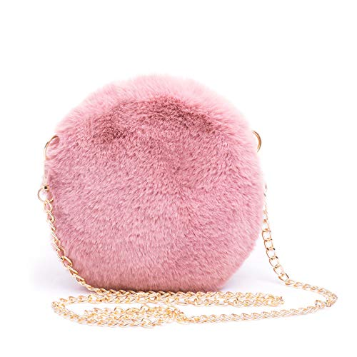 Mforshop borsetta donna pochette borsa hand bag pelosa pelliccia ecologica tonda new s005 - rosa, taglia unica
