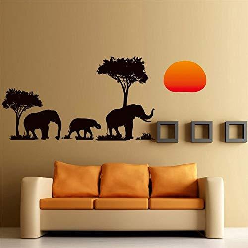 Árbol negro elefantes pegatinas de pared sala de estar decoraciones diy calcomanías...