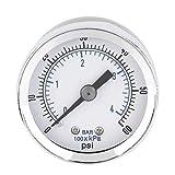 Calibro di pressione idraulica del compressore d'aria 1/8 '' NPT di alta qualità 0-60 PSI Back Mount Worldwide Store - Silver
