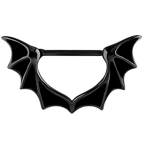 Nippel-Piercing, Klick-Ring mit Fledermausflügeln, Schwarzer Stahl. Stab ist 1,6mm dick, 14mm Länge. Brustwarzenpiercing