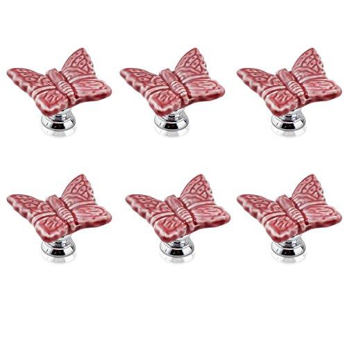 FBSHOP(TM) 6pcs Rosa Neuheit Schmetterling geformte Keramik Tür Knopf Küche Türgriff Möbelknopf Kabinett Schrank Schublade Knopf Knöpfe Cabinet Knob Einzigartige Schrankknöpfe mit Schrauben (Küche-kabinett-knöpfe Einzigartige)
