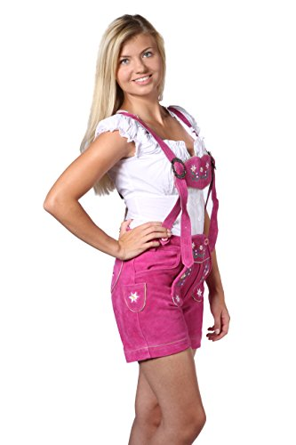 Damen Trachten Lederhose Damenhose mit Trägern aus feinstem Veloursleder in rosa, Bayrische Trachtenlederhose für das Oktoberfest Größe 34, 36, 38, 40, 42, 44, 46 Rosa
