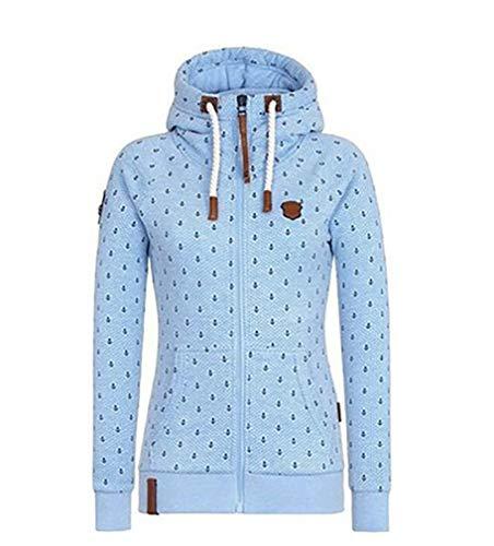 EwigYou Damen Baumwolle Kapuzenjacke Hoodie mit Fleece-Innenseite Sweatshirt Herbst Winter Große Größen Übergangsjacke Sweatjacke