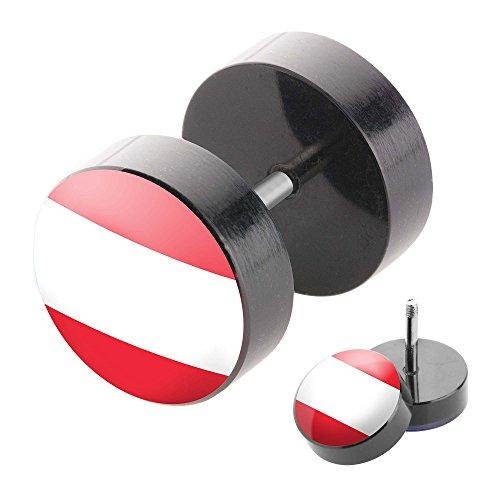 Piercingfaktor Fake Plug Piercing mit Länder Motiv Österreich - 10mm