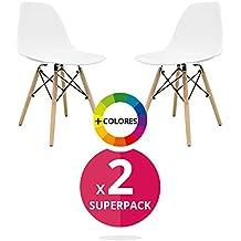 Silla Nórdica (Pack 2) - Silla Tower One Blanca - silla nordic escandinava inspirada en silla eames dsw - Nera - (Elige tu color)