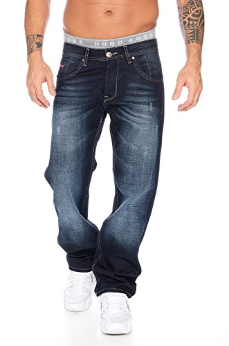 Rock Creek Herren Jeans Hose Denim Blau Straight-Cut Gerades RC-2091 Dunkelblau W44 L34