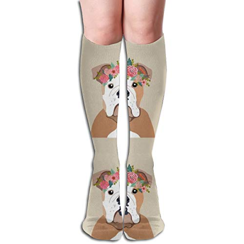 Women's Fancy Design Stocking English Bulldog Dog With Cut Lines Dog Panel, Dog, Cut And Sew Floral Multi Colorful Patterned Knee High Socks 19.6Inchs
