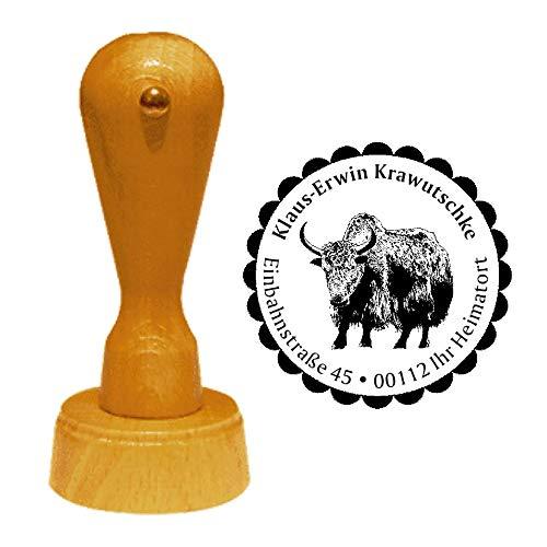 Stempel Adressstempel « YAK » Durchmesser ca. Ø 40 mm - mit persönlicher Adresse, Motiv und Zierrand - Tier Tiere Wildtiere Jak Rind Asien -