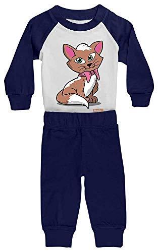 HARIZ Baby Pyjama Kätzchen Schleife Süß Tiere Dschungel Plus Geschenkkarte Weiß/Navy Blau 18-24 Monate -