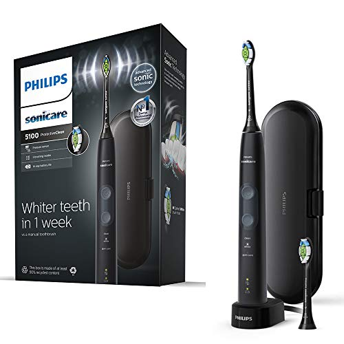 Philips Sonicare ProtectiveClean 5100 Electric Toothbrush Black with Travel Case 3 x Cleaning Modes  2 x Whitening Brush Head UK 2-pin Bathroom Plug - HX685039