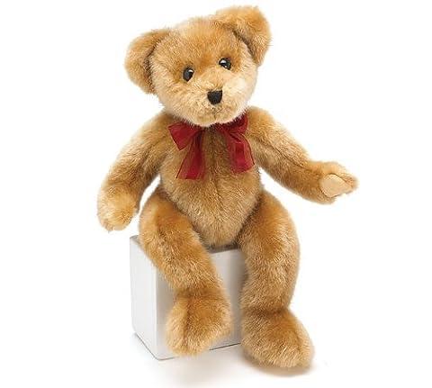 Sebastian Bear 14 Light Brown with Red Ribbon Plush Toy- Holiday Gift by Burton & Burton