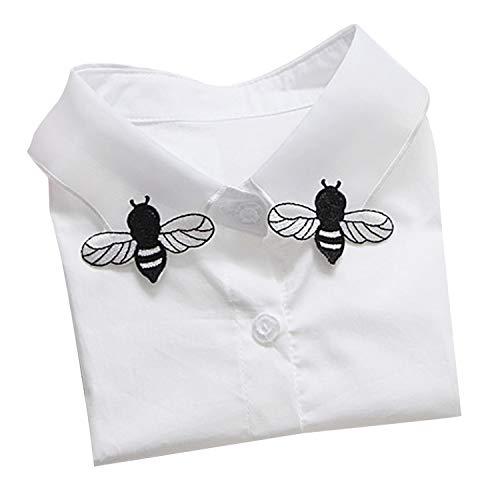 Vococal camicia staccabile, colletti falsi le donne ragazze moda elegante ricamo falso collare falso con motivo ape per abiti maglioni t-shirt camicetta