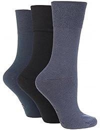3 Pairs Ladies Sock Shop Plain Coloured Gentle Grip Everyday Socks, Ladies 4-8
