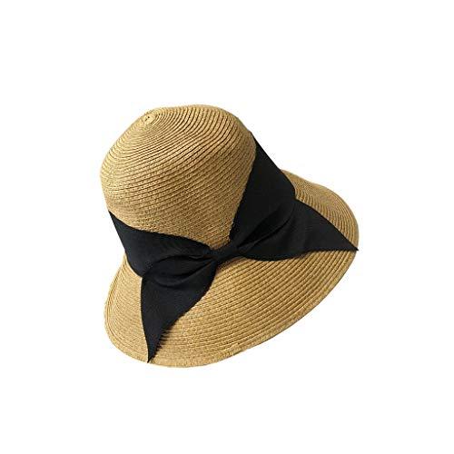 Unbekannt LINGZHIGAN Primärfarbe Schwarz Schmetterling Einfache Weibliche Hut Falten Japanischen Gesicht Sonnenhut Sommer Strand Urlaub Strohhut Bogen Hut Visier