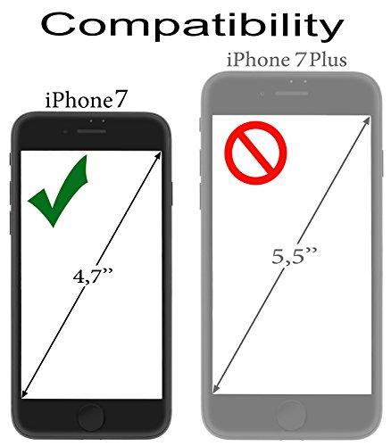 StilGut Book Type Case mit Standfunktion und Clip, Hülle Leder-Tasche für iPhone 8 und iPhone 7 (4,7 Zoll), Schwarz Weiß Prestige